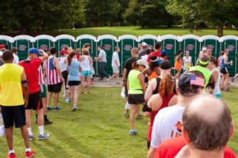 Portable toilets during event