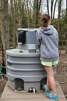hand wash station in use